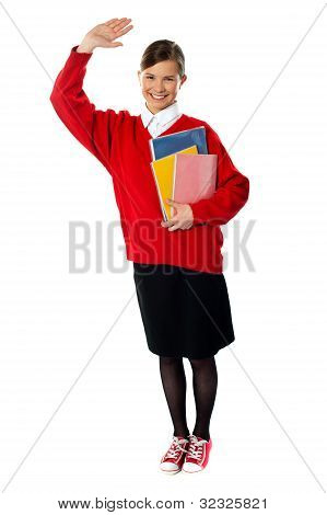 Full Length View Of Student Girl With Giving Hi5