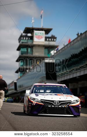 September 07, 2019 - Indianapolis, Indiana , USA: Denny Hamlin (11) gets ready to practice for the Big Machine Vodka 400 at the Brickyard at Indianapolis Motor Speedway in Indianapolis, Indiana .