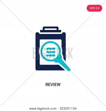 review icon in two color design style.