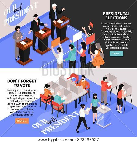 Isometric Election Banners With Images Of Debates And Voting Human Characters Editable Text And More