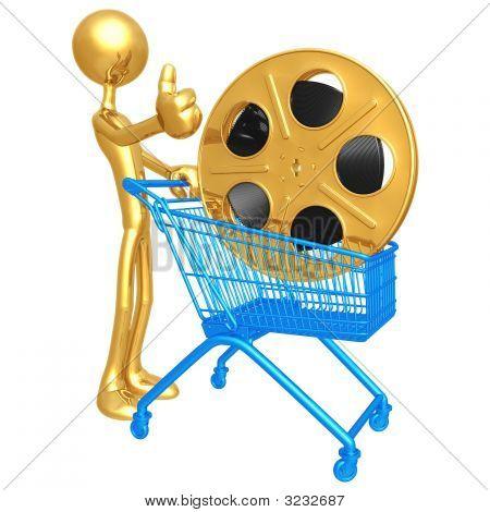 Human Figurine Pushing Shopping Cart With Golden Film Reel