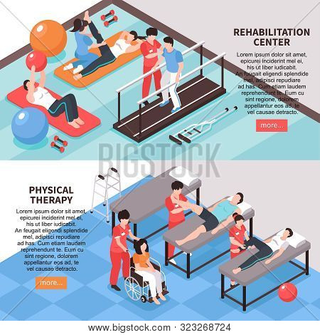 Set Of Two Isometric Rehabilitation Physiotherapy Horizontal Banners With Images Editable Text And R
