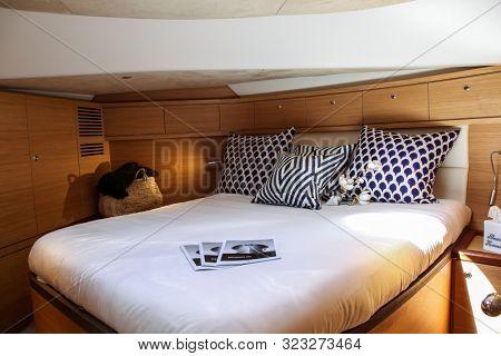 NORWALK, CT, USA - SEPTEMBER 19, 2019: Zeelander 55 interior shoving on Progressive Norwalk Boat Show Day 1 From September 19-22, 2019.