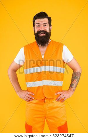 Man Of Any Job. Man Worker Or Workman Smiling On Yellow Background. Happy Construction Worker Or Bui