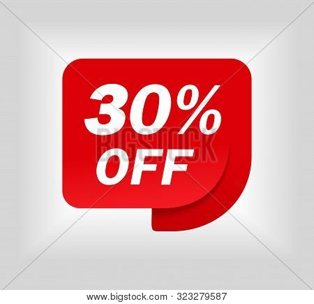Label Sale Of Special Offer. Red Promo Sticker Of Discount. Icon Tag For Retail. Red Label For Sale