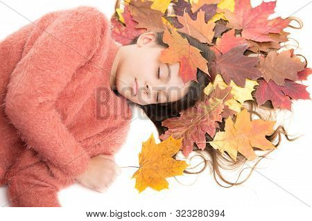 Seasonal Affective Disorder. Kid Girl Sleepy Face Suffer Depression. Headache And Prostration. Type