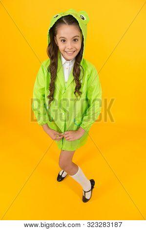 Waterproof Accessory. Kid Girl Happy Wear Raincoat. Cute Raincoat Kids Would Love. Frog Style. Schoo