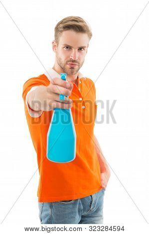 Refresh Right Now. Man Hold Mist Sprayer Like Weapon Aiming You. On His Target. Refreshing Shot. Man