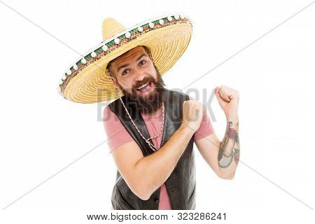 A Fun Accessory. Happy Mexican Man Wearing Traditional Fashion Accessory. Bearded Man Smiling In Som