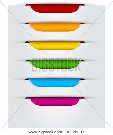 Vector multicolored paper labels for text.