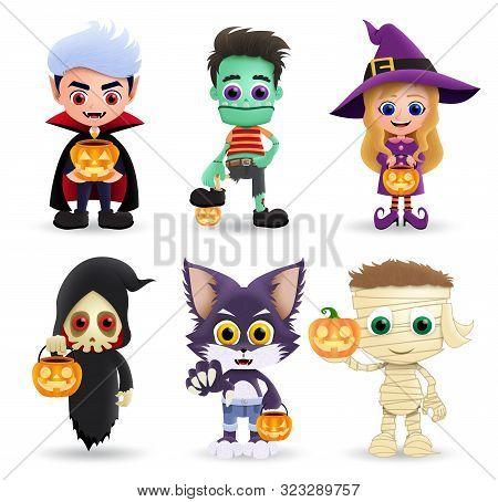 Halloween Characters Vector Set. Cute Kids Character Wearing Halloween Costume Like Vampire, Zombie,