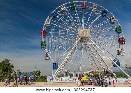 Almaty, Kazakhstan - June 1, 2017: Ferris Wheel At Kok Tobe Mountain In Almaty, Kazakhstan.