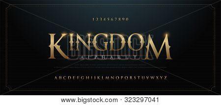 Elegant Golden Alphabet Letters Font Set. Classic Custom Gold Lettering Designs For Logo, Movie, Gam