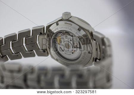 Chaux-de-fonds, Switzerland, August 21 2019 - The Close Up Of Tag Heuer Grand Carrera Watch Mechanis