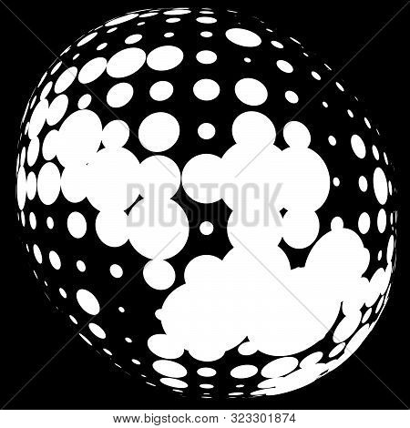 Half-tone Dots, Circles, Dotted Element. Sphere, Orb Or Globe Distortion Speckles. Diffuse Radial, R