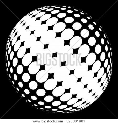 Half-tone Dots. Dotted, Circles Pattern. Sphere, Orb Or Globe Distortion Speckles. Diffuse Radial, R