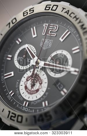 Chaux-de-fonds, Switzerland, August 21 2019 - The Close Up Of Tag Heuer Grand Carrera Watch, A Famou
