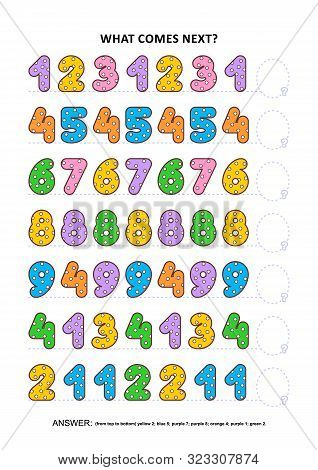 Basic skills practice logic game with colorful polka-dot numbers. Training sequential pattern recognition skills: What comes next in the sequence? Answer included. poster