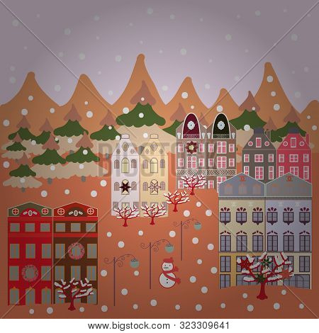 Scandinavian Style Nature Illustration. Vector. Colorfil Landscape For Textile, Sketch, Fabric. Cute