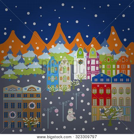 Christmas Village Of Santa Claus. Vector Illustration. Panorama. Fairy Houses On Gray, Blue And Oran
