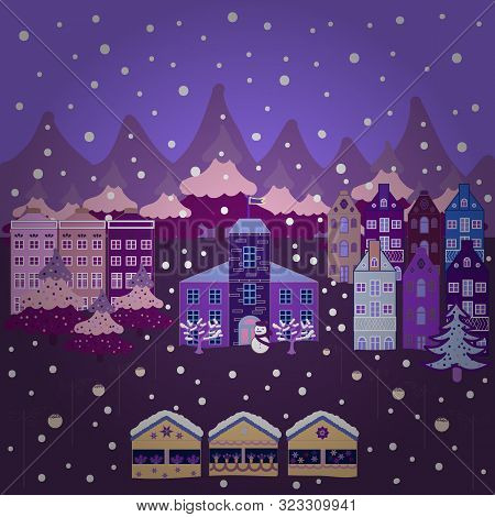 Vector Illustration. Winter Houses For Christmas And Christmas Fabrics Packaging Paper And Decor On