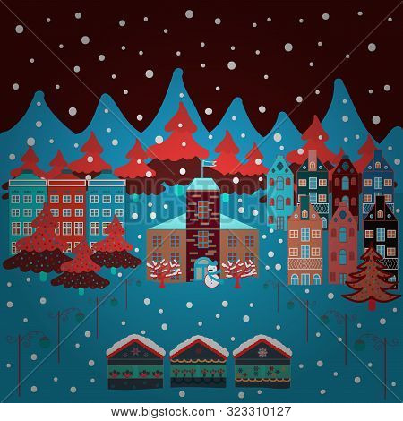 Vector Illustration. Christmas Village Of Santa Claus. Panorama. Fairy Houses On Brown, Red And Blue