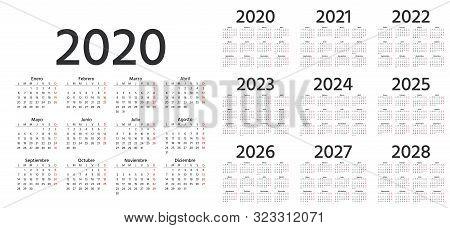 Calendar Spanish 2020, 2021, 2022, 2023, 2024, 2025, 2026, 2027, 2028 Years. Vector. Week Starts Mon