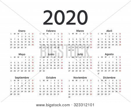 Spanish Calendar 2020 Year. Vector. Week Starts Monday. Spain Calender Template. Yearly Stationery O