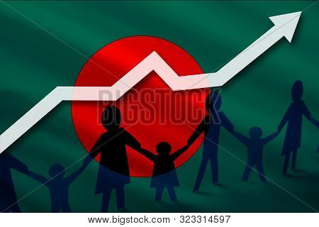 Bangladesh Flag On A Background Of A Growing Arrow Up And People With Children Holding Hands. Demogr