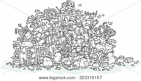 Big Heap Of Household Rubbish, Trash Bags And Broken Junk, Black And White Outline Vector Illustrati