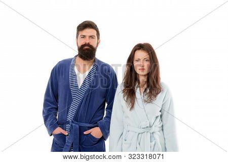 Hard Morning. Couple Sleepy Faces Yawning Clothes For Sleep. Insomnia Effects. Sleepy People White B