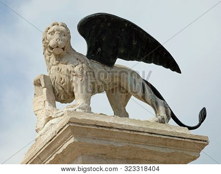 Statue Of Winged Lion Symbol Of Venice Island And The Veneto Region In Italy