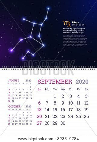 Wall Calendar For September 2020 Year With Virgo Zodiac Constellation. Virgo Star Sign And Dates Of