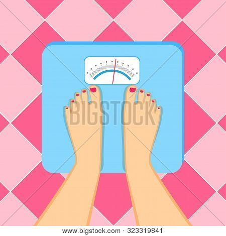 The Young Woman Is Weighed On Scales.  Female Feet With A Pedicure  Are On An Weighing-machine.