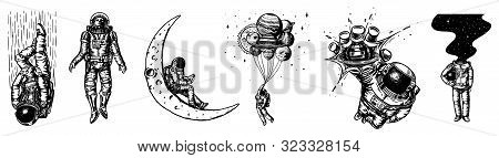 Set Of Astronauts In The Solar System. Spaceman And Whale, Taking Off Cosmonaut, Planets In Space, B
