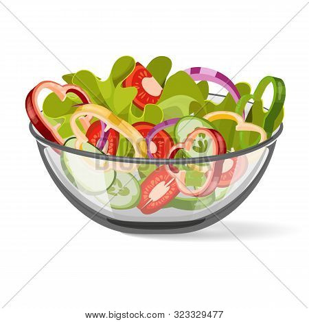 Salad  Vegetable, Vector. Salad In A Bowl