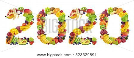 Happy New Year 2020. Number 2020 Made Of Tropical And Exotic Fruits