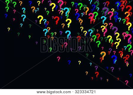 Horizontal Pattern Of Question Marks Scattered On A Black Background. Colorful Poll Template. Design