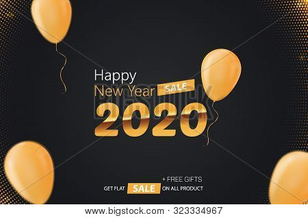 Happy New Year 2020 Sale Vector Background Illustration
