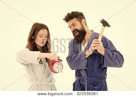 Rage And Hate. Early Morning Anxiety. Get Rid Of Annoying Alarm Clock. Couple Bathrobes Going To Des