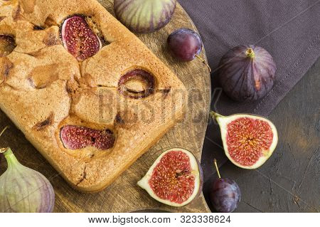 Homemade Vegetarian Pie With Figs And Onions
