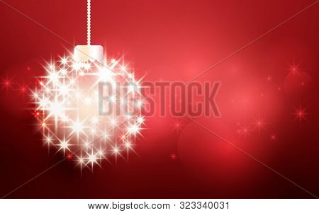 Merry Christmas And Happy New Year Banner. Christmas Ball Made With Light Stars Sparkles On Red Boke