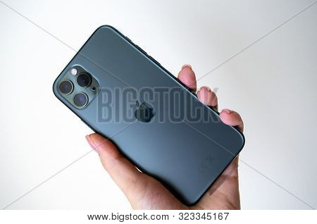 Dubai / Uae - September 21, 2019: New Midnight Green Apple Iphone 11 Pro In Hand On Light Background