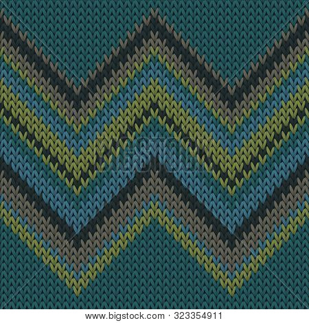 Cotton Zig Zag Lines Knitted Texture Geometric Seamless Pattern. Scarf Knitwear Fabric Print. Tradit