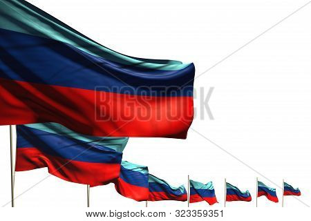 Pretty Celebration Flag 3d Illustration  - Many Luhansk Peoples Republic Flags Placed Diagonal Isola