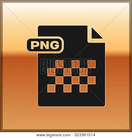 Black Png File Document. Download Png Button Icon Isolated On Gold Background. Png File Symbol. Vect