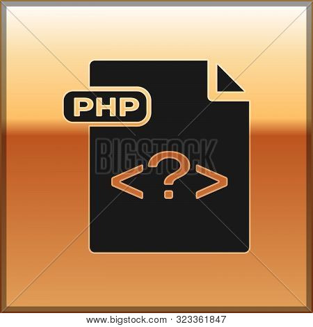 Black Php File Document. Download Php Button Icon Isolated On Gold Background. Php File Symbol. Vect