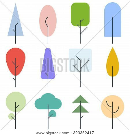 Forest And Garden Trees. Collection Of Trees In The Woods. Line Style Set Of Forest Trees Landscape.