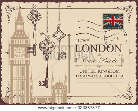 Retro Postcard With Big Ben In London, United Kingdom. Vector Postcard In Vintage Style With Old Key