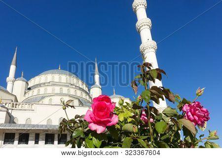 Kocatepe Mosque in clear sky  - Ankara Turkey